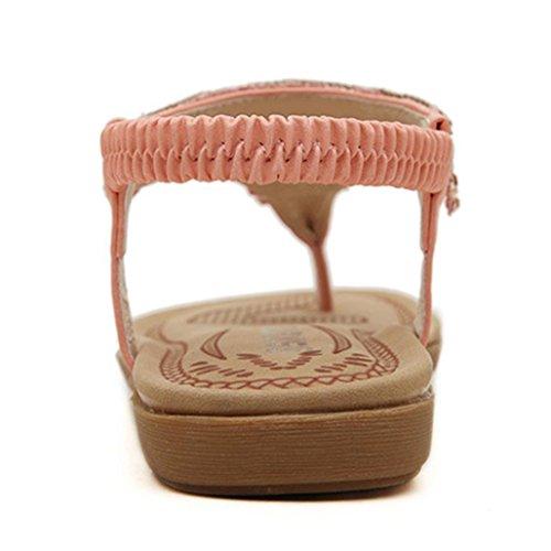 Transer® Damen Sandalen Rhinestone A-Gurt Rutschfeste Toepost Kunstleder+Gummi Rosa Weiß Sandalen (Bitte achten Sie auf die Größentabelle. Bitte eine Nummer größer bestellen) Rosa