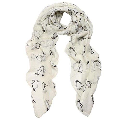 Echarpe Femme, Koly Femmes Lady Penguin Imprimer Châle Voile Rectangle Scarf Echarpes Blanc