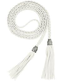 TeeYee Mujeres PU cuero exótico tejido cintura cinturón cuerda cadena con  borla b8c2f2c46320