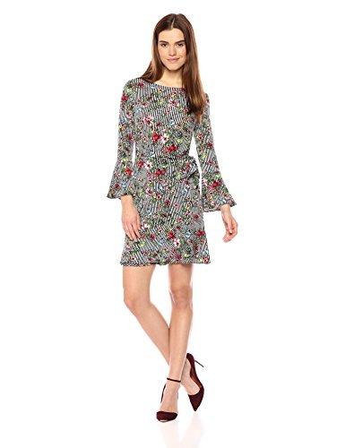 ECI New York Damen 3/4 Sleeve Faux WRAP Printed Dress Kleid, Grün/Rot, X-Klein 3/4 Sleeve Faux Wrap