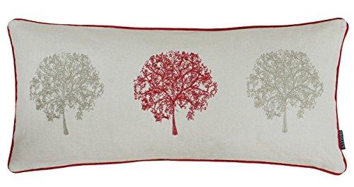 gefüllt Baum Bäume bestickt lang Boudoir Baumwolle Leinen rot beige Kissen, 30x 65cm (Lange Boudoir Kissen)