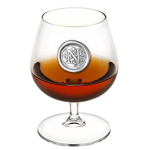 English Pewter Company 14,5 Unzen Brandy Cognac Snifter Glas mit Monogramm Initiale - personalisiertes Geschenk mit Ihrer Wahl der Initiale (N) [MON214]