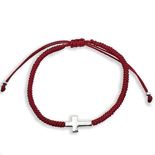 Alessandra Boho - Pulsera de Hombre con Cruz de Plata y Cordón de Nylon Europeo Rojo