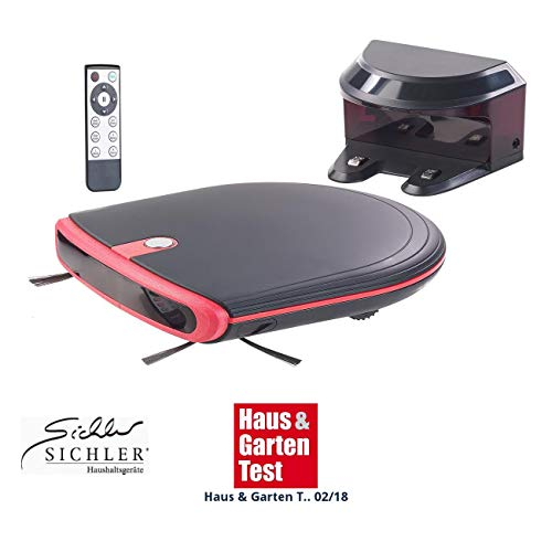 Sichler Haushaltsgeräte Saugroboter: Ultraflacher Reinigungs- & Staubsauger-Roboter, 120 Min. Akku-Laufzeit (Saug Wisch Roboter)