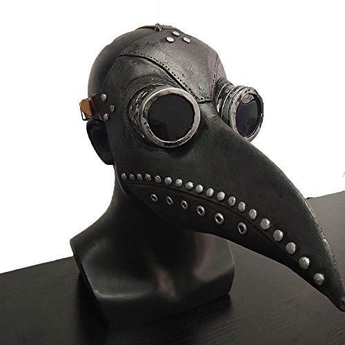 JUFENG Unisex Pest Doktor Vogel Maske Lange Nase Schwarz Kostüme Masken Halloween Leder Latex Casque Accessoires