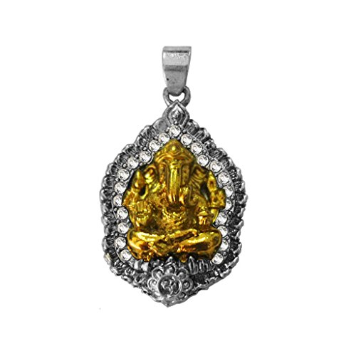 Men Fashion Jewellery Spiritual Sterling Silver::Gold Lord Ganesha Pendant With Chain  available at amazon for Rs.149
