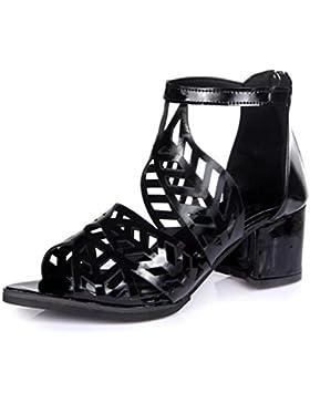 Verano espesor con cabeza de pescado hueca de diamante sandalias femeninas con los zapatos , black , US6 / EU36...