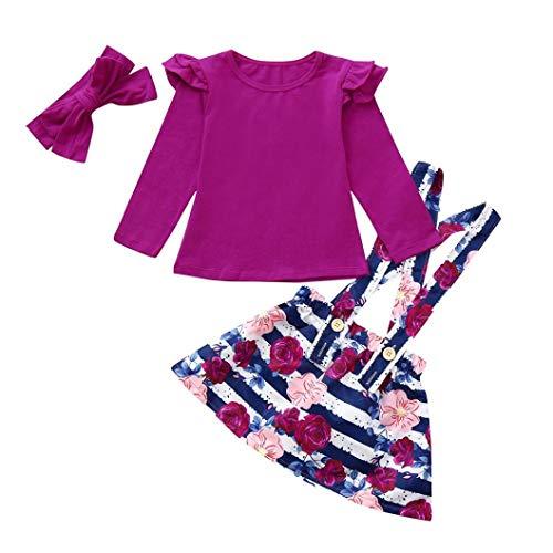 3 Stücke Outfits Set Kleidung LianMengMVP Kinder Baby Mädchen Lange Ärmel Tops Strap Floral Rock Stirnbänder Outfits Set -
