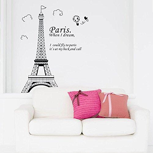 Evertrust (TM) romantico Parigi torre Eiffel bella vista di Francia DIY Sticke Wallpaper adesivi da parete Art Decor murale camera