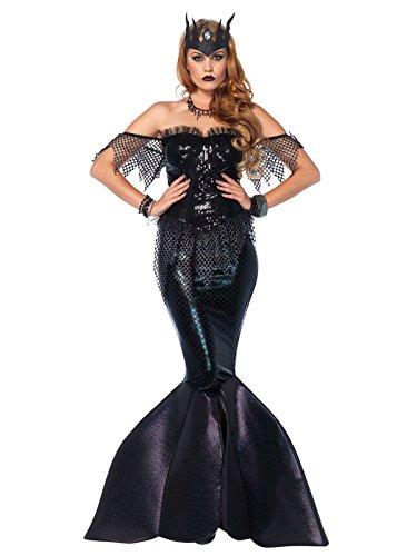 Dunkle Meerjungfrau Damenkostüm Meerhexe schwarz M