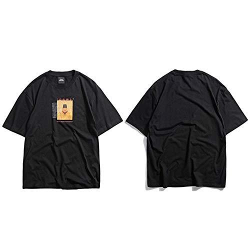 Hip Hop Streetwear Men Chinese King T-Shirts Retro Painting Short Sleeve Cotton Tops Tees Summer Black L -