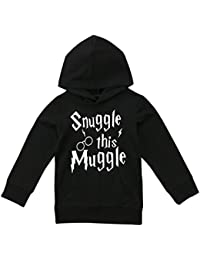 Biayxms Infant Toddler Baby Boy Girl Snuggle This Muggle Hoodie Sweatshirt Cotton Top With Kangaroo muff Pockets )