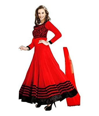 Ethnicbasket girls Net Salwar Suit (212A_Red_Red_Medium)