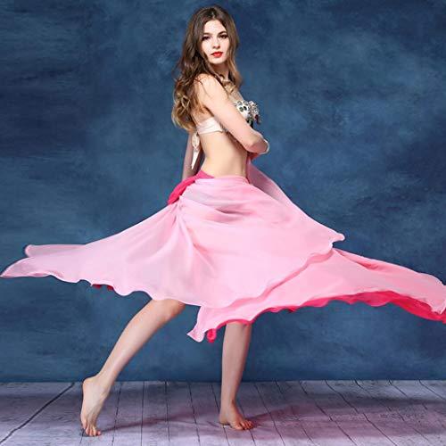 Z&X Belly Dance Rock - Kleid mit doppeltem Schlitz und halblangem zweifarbigem Auftritt - große Swingrock-Kostüme - optional mit Mehreren (Weiß Profi Bauchtanz Kostüm)