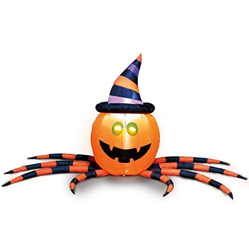Joiedomi Halloween-Kürbisspinne, aufblasbar, für Halloween, Hof, Dekoration, Outdoor, 2,1 m lang
