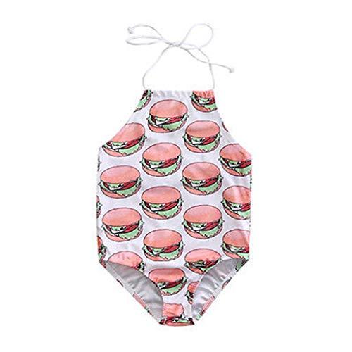 HUXINFEI Neugeborenen Badeanzug, Baby Badeanzug Siam Esse Bikin, Kleinkind Sommer Bademode, Kinder Tragen Beachwear Badeanzug Druck Kostüm,Hamburger,120 (Kinder Hamburger Kostüm)