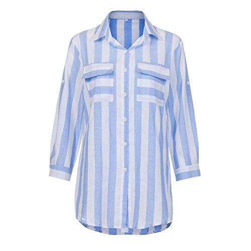 Jaminy Frauen Casual sexy V Neck Stripe Langarmshirts Blusen Plaid Shirt Tops FÜR Den Täglichen, Casual, Sport Lieblings Shorts, Leggings, Schwarze Hosen, Jeans (L, Blau) (Plaid Shirt L/s Blau)