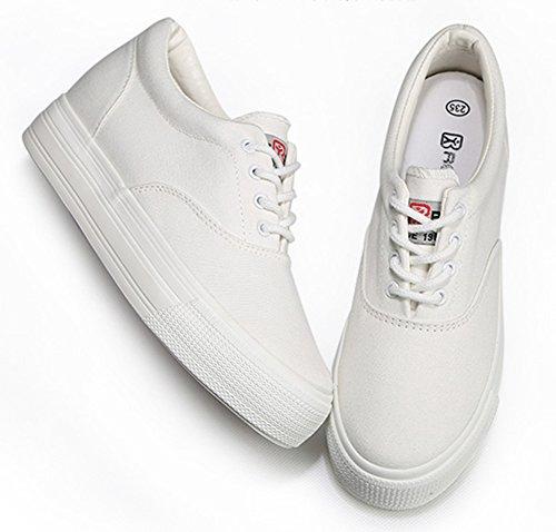 Aisun Damen Fashion Süß Rein Farbe Canvas Mit Schnürsenkel Sneaker Weiß