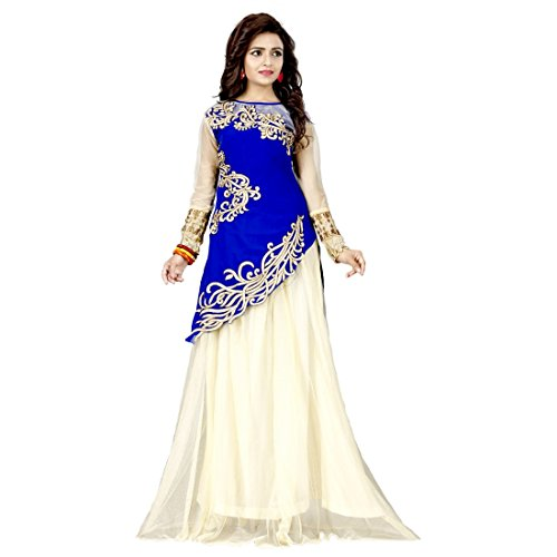 White World Women's Velvet And Net Semi-stitched Lehenga Choli
