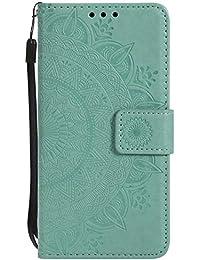 DENDICO Funda LG V30, Funda de Cuero con Portatarjetas, Cartera Carcasa Plegable Cartera en Piel Premium para LG V30 - Verde