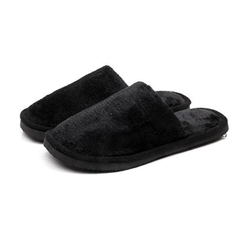 Am Ende der Schuh weich, stillen warmen gedeckten Herbst Winter Hausschuhe aus Baumwolle innen Hausschuhe für Männer und Frauen home Teppich, weibliche Schuhgröße 39/40 (38 bis 40 Fuß, Plüsch Classic schwarz - Kaschmir-schwarz-teppich