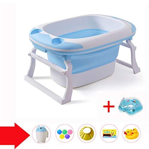XUEPING Baby-Kunststoff-Badewanne, Kinder-Faltbadewanne, Großer Gürtel Mit Sitzbadewannen,Trapezhalterung Tragbarer Pool Für Schwimmbecken L91 * K60 * H44 2 Farben (Farbe : Blau)