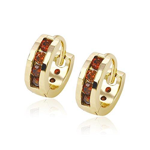 XUPING Simple Moderne glatt 14 K Gold Color vergoldet Inlay Runde CZ Baumeln Hoop Ohrringe für Damen