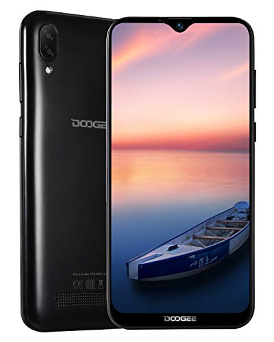 DOOGEE X90 2019 Handy Ohne Vertrag Günstig Dual SIM 3G 19:9 6,1 Zoll, Android 8,1 Smartphone Ohne Vertrag Quad-Core 1GB RAM 16GB, 3400mAh, 5MP+8MP Dual Rückkamera, GPS, Gesichtserkennung ID, Schwarz
