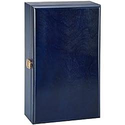 Doble Botella, caja de regalo de lujo de madera para vino, champán o Whisky (azul)
