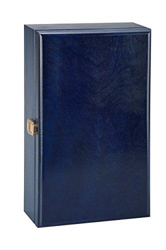 Scatola regalo di lusso, in legno, può contenere due bottiglie di vino, champagne o whisky, colore blu