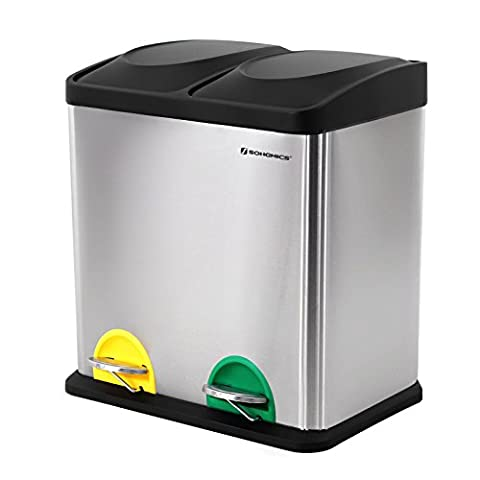 Songmics Pedal Bin 30 Litre Recycling Waste Separation System Dustbin Durable Easy Clean Stainless Steel Silver LTB30L
