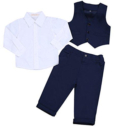 iEFiEL Kinderanzug Kinder Jungen Gentleman Weste Hosen Hemd Outfit festliche Kleidung Set Hochzeit Anzüge Sakkos Marineblau + Weiß 68-80 (Herstellergröße: 80)