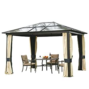 outsunny luxus pavillon gartenpavillon alu partyzelt gartenzelt mit. Black Bedroom Furniture Sets. Home Design Ideas