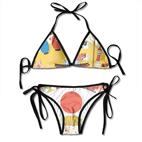 Adjustable Bikini Set Halter Ladies Swimming Costume, Japanese Inspired Commercial Pattern Various Asian Culture Items Cool Cat Origami,Halter Beach Bathing Swimwear