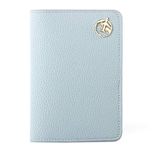 Reisepass Schutzhülle, Lychii Passport Holder für Damen Herren, PU Leather Reisebrieftasche Travel Wallet Organizer für Kreditkarten, Ausweis und Reisedokumente (Blau) -