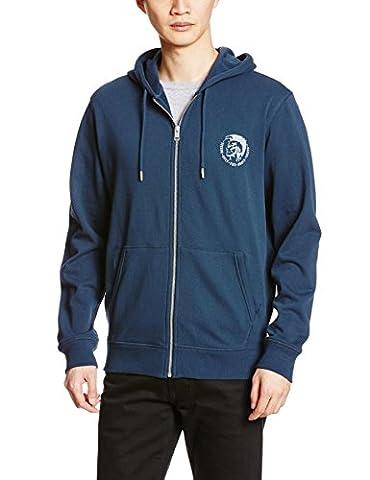 Diesel Brandon Mohawk Logo Zip-Through Hoodie, Navy Medium