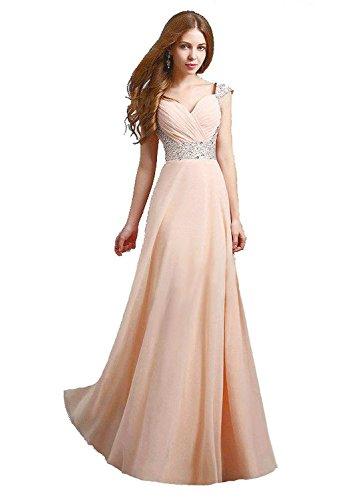 Edaier Damen Straps Perlen Lange Abendkleider Ballkleid Größe 54 Champagner