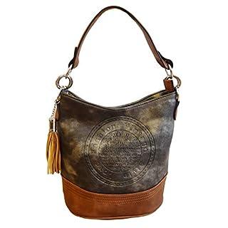 Unbekannt Damen Handtasche Tasche mit Ring Anhänger Aufdruck schwarz grau blau rot klein (M1_GrauMetallic-Braun)