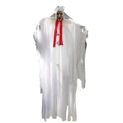 Nihiug Halloween Ghost Braut Bräutigam Horror Glühend Voicey Hanging Ghost Chamber Escape Ghost Toy '' Boo Zu Ihnen! '' Emulsion Haut Mit Haaren,White