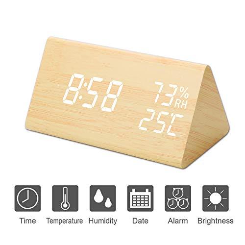 Kingterence Reloj Despertador Digital, Triángulo de Madera LED Cubo