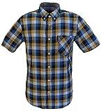 Ben Sherman - Camisa Casual - Cuadros - con Botones - Manga Corta - para Hombre Amarillo Mostaza Medium