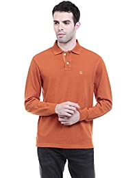 CHKOKKO Polycotton Polo Neck Full Sleeves Plain T Shirt For Men