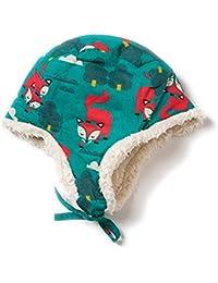 Little Green Radicals Gorro de sherpa algodón orgánico 6-12 meses estampado Winter Fox