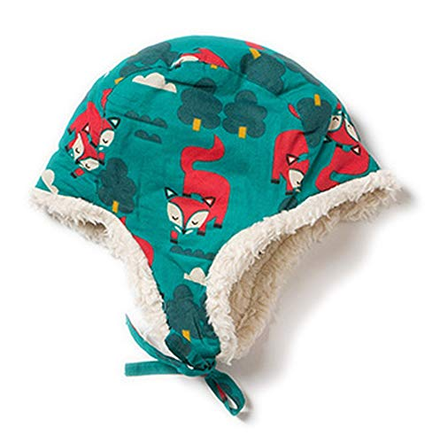 Little Green Radicals Bio-Baumwolle Wintermütze/Sherpa-Mütze Winter Fox 6-12 Monate