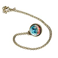 Bggie Double-sided Glass Ball Pendant Gem Universe Star Chain Necklace Jewelry Gifts