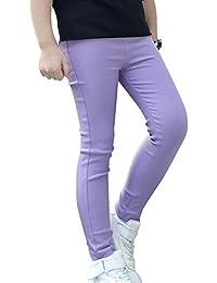 Niña Leggings de Color Sólido Elástico Pantalones de Lápiz Jeggings Leggins