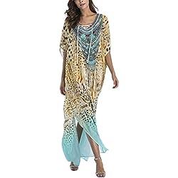Zhhlaixing Vestido para Mujeres - Women Verano Boho Chic Print Lace-up Dresses Kimono Playa Party Long Maxi Sundress Kaftan Caftan Swim Bikini Cover Up Beachwear