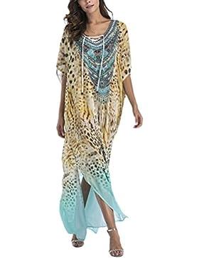 Zhuhaitf Elegante y Hermoso para Mujer, Summer Boho Printed Tunic Kimono Dress Ladies Summer Women Evening Maxi...