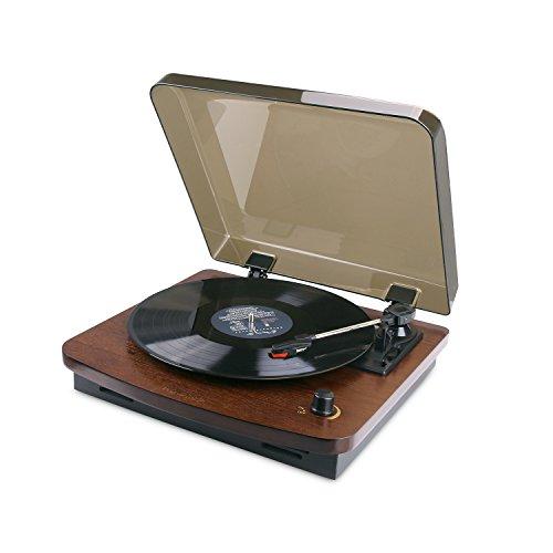 HOVAMP MT-01 Plattenspieler, Retro Stereo Schallplattenspieler mit Vinyl-To-MP3 Funktion und 2 LautsprechernAus 100% Natürlichem - Vinyl Holz Plattenspieler