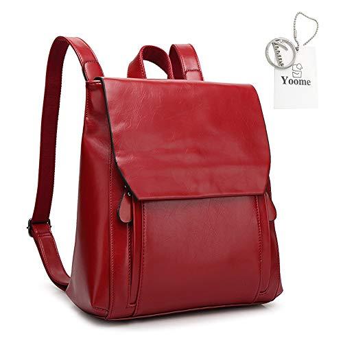 Yoome Vintage Magnetic Snap Rucksack Frauen Rucksack Leder Schule College Bag Schultertasche Weinrot